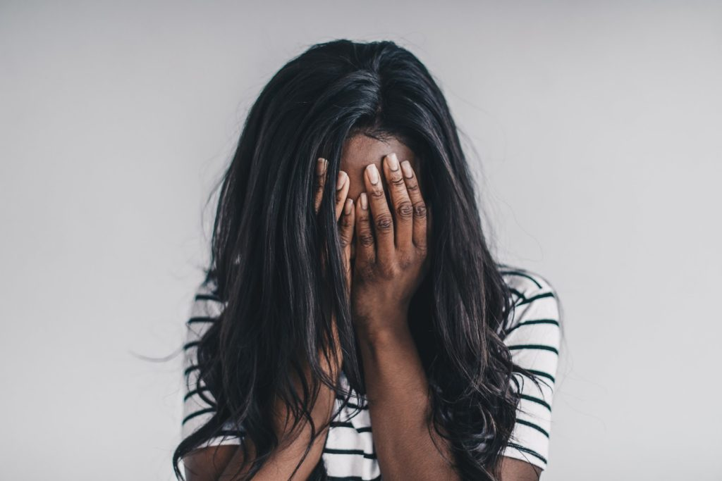 Sad woman needing self-development